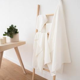 Off White Linen Cotton Bath Towels Set Wafer