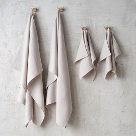 Grey Linen Bath Towels Set Lara