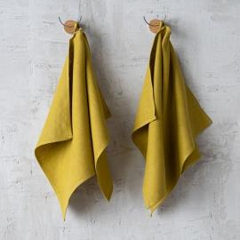 Set of 2 Orange Linen Tea Towels Lara