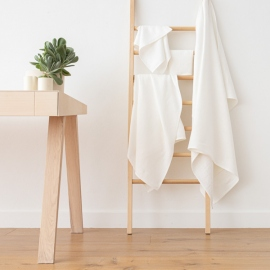 Off White Linen Bath Towels Set Lara