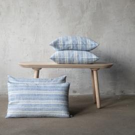 Linen Cushion Cover Blue White Multistripe