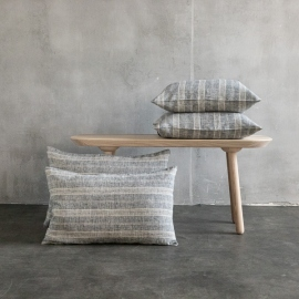 Linen Cushion Cover Black Natural Multistripe