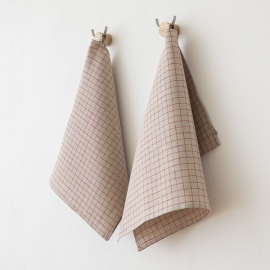 Set of 2 Natural Red Gingham Linen Kitchen Towels