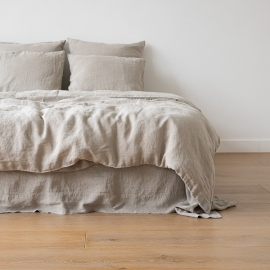 Natural Washed Bed Linen Fitted Sheet