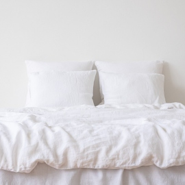 Optical White Linen Duvet Stone Washed