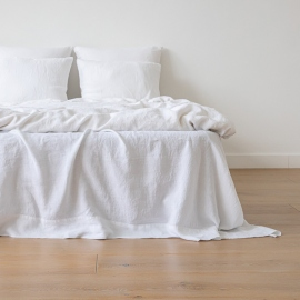 Optical White Linen Pillow Case Stone Washed