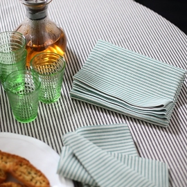 Tablecloth Black Striped Linen Jazz