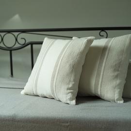 Cream Striped Linen Cushion Cover Antico Due