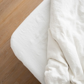 Off White Washed Bed Linen Fitted Sheet