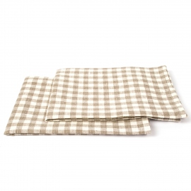 Set of 2 Natural Off White Gingham Linen Kitchen Towels