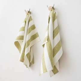 Set of 2 Green Linen Hand and Guest Towels  Philippe