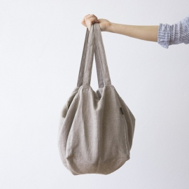 Natural Linen Beach Bag Lara