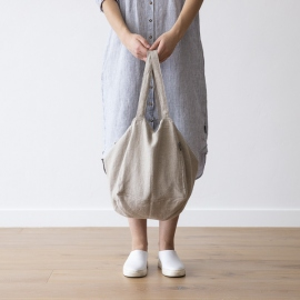 Linen Beach Bag Natural Lara