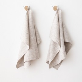 Set of 2 Birch Linen Hand Towels Francesca