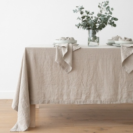 Stone Washed Linen Tablecloth Natural