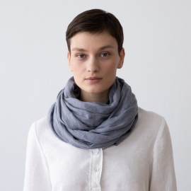 Crown Blue Linen Summer Scarf Garza
