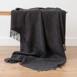 Charcoal Baby Alpaca Throw Bella
