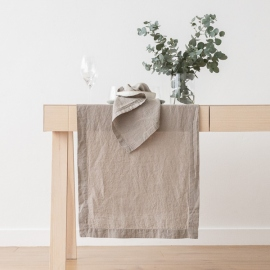 Stone Washed Taupe Linen Runner