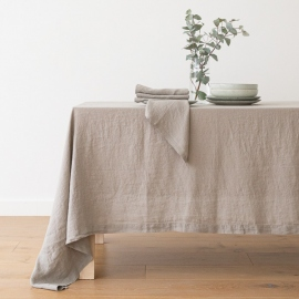 Stone Washed Taupe Linen Tablecloth ...