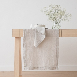 Stone Washed Linen Runner Silver