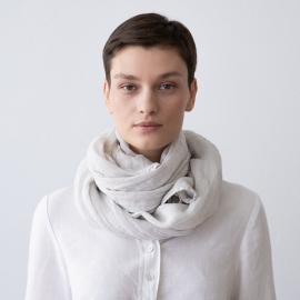 Steel Grey Linen Summer Scarf Garza