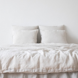 Silver Linen Duvet Stone Washed