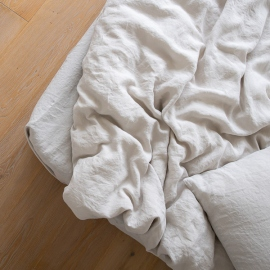 Silver Stone washed Bed Linen Fitted Sheet