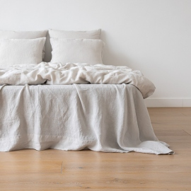 Silver Linen Flat Sheet Stone Washed