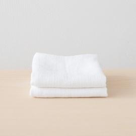 White Linen Waffle Bath Towel Washed