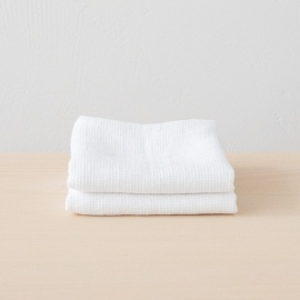 Set of 2 White Linen Waffle Hand Towels Washed