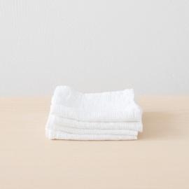 Set of 4 White Linen Cloths Washed Waffle