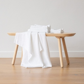 Set of 4 White Linen Cloths Washed Waffle