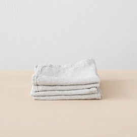 Set of 4 Silver Linen Cloths Washed Waffle