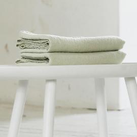 Aloe Green Linen Waffle Bath Towel Washed
