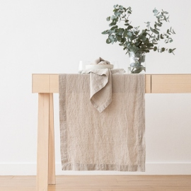 Stone Washed Oatmeal Linen Runner