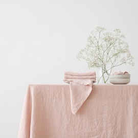 Stone Washed Rosa Linen Tablecloth