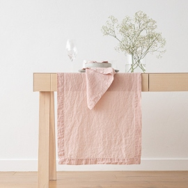 Stone Washed Rosa Linen Runner