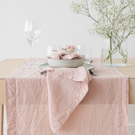 Stone Washed Linen Runner Rosa
