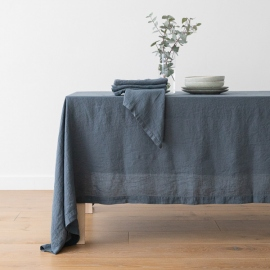 Stone Washed Blue Linen Tablecloth ...