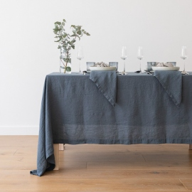Stone Washed Blue Linen Tablecloth Stone Washed Blue Linen Tablecloth