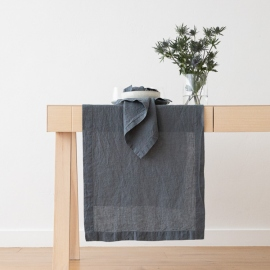 Stone Washed Blue Linen Runner