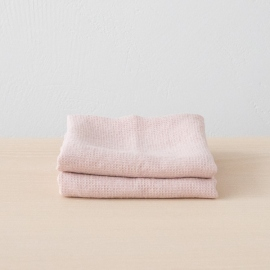 Set of 2 Rosa Linen Waffle Hand Towels Washed