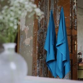 Turquoise Huckaback Linen Bath Towel Lara