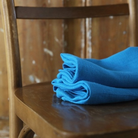 Set of 2 Turquoise Linen Hand and Guest Towels Lara