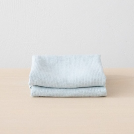 Set of 2 Ice Blue Linen Waffle Hand Towels Washed
