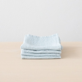 Set of 4 Ice Blue Linen Cloths Washed Waffle