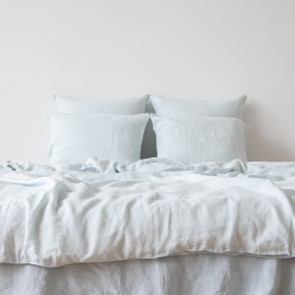 Ice Blue Linen Duvet Stone Washed