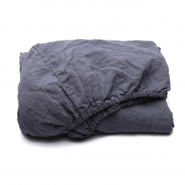 Blueberry Linen Fitted Sheet Stone Washed