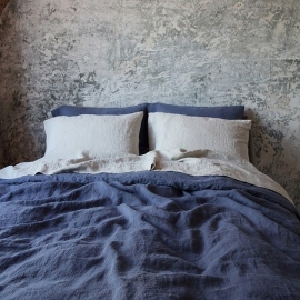 Linen Fabric Sample Blueberry Stone Washed