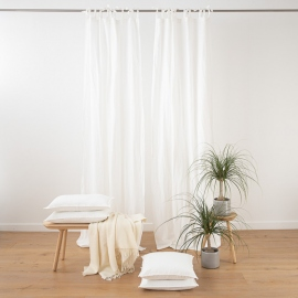 Optical White Linen Curtain Panel with Ties Stone Washed